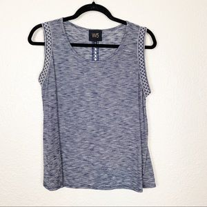 2/$12 W5 by Anthropologie blue embroidered tank